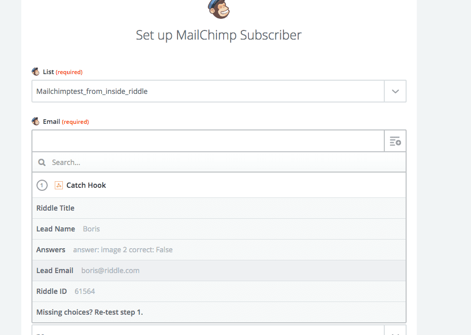 Zapier email collection