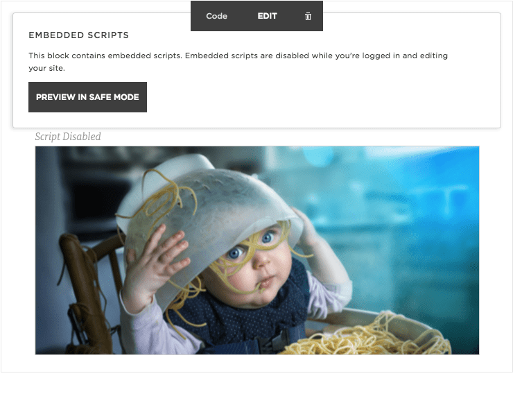 Squarespace - Riddle preview in edit mode