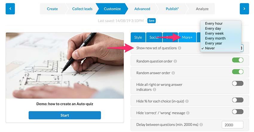 auto-quiz - select question bank