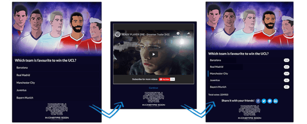audience engagement quiz flow - video iframe