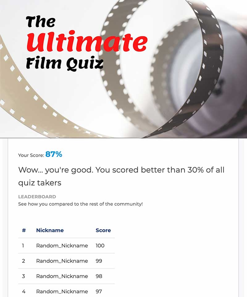 quiz leaderboard screenshot