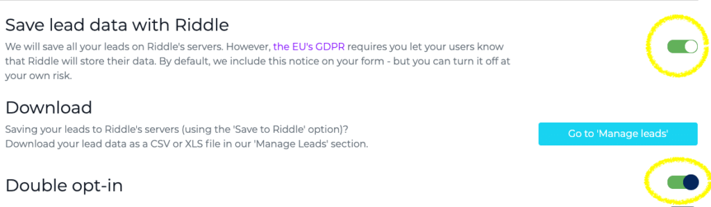 save quiz data to Riddle servers (gdpr-compliant)