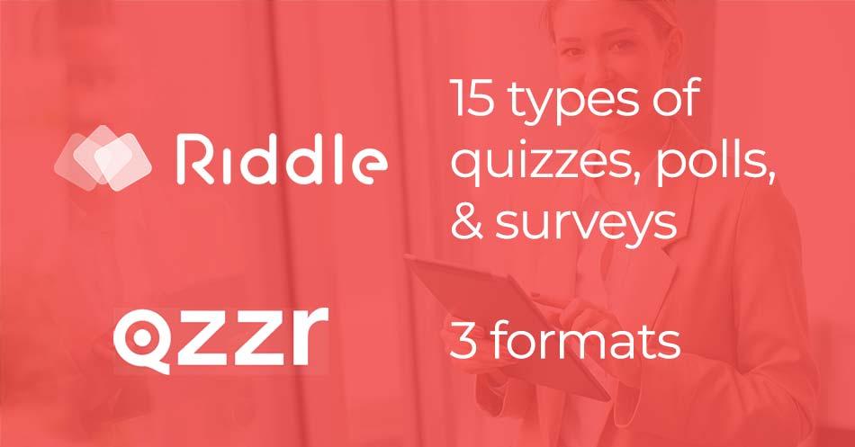 quiz maker comparison - qzzr Riddle quiz formats