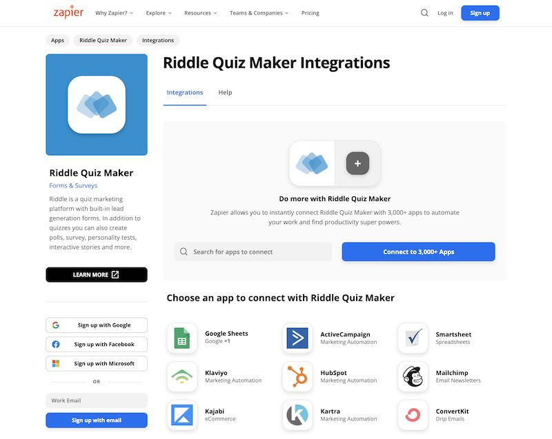 zapier integrations with riddle - alternative to quiz webhook