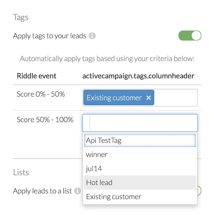 Riddle ActiveCampaign integration - tagging