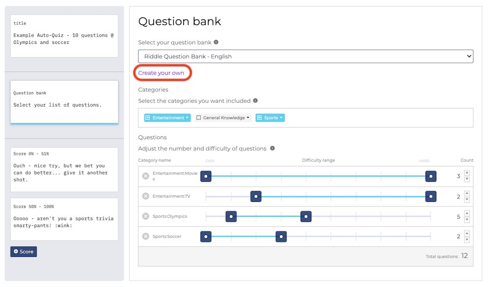 auto-quiz create your own question bank