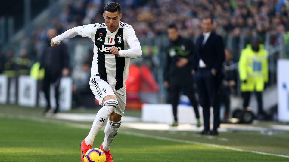 Cristiano Ronaldo playing for Juventus.