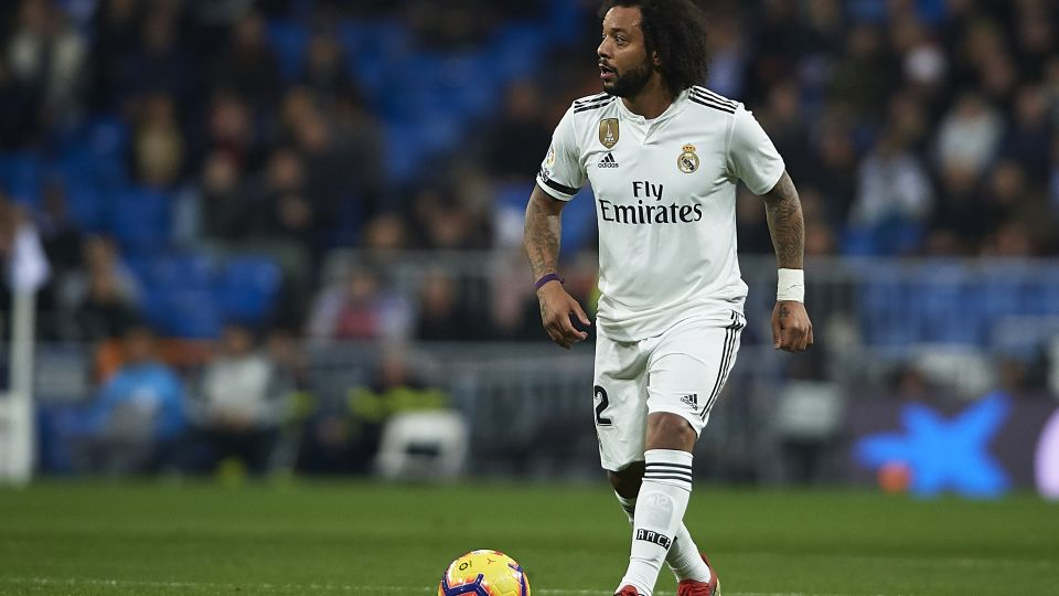 Marcelo playing for Real Madrid.